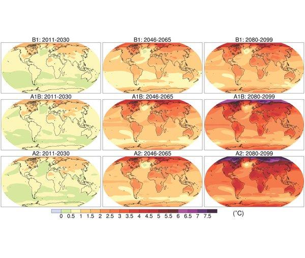 Répartition mondiale de l'augmentation de température pour 3 scénarios (en lignes) et trois périodes (en colonnes)