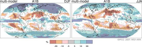 Changements des précipitations en pourcentage pour la période 2090–2099, par rapport à  1980–1999