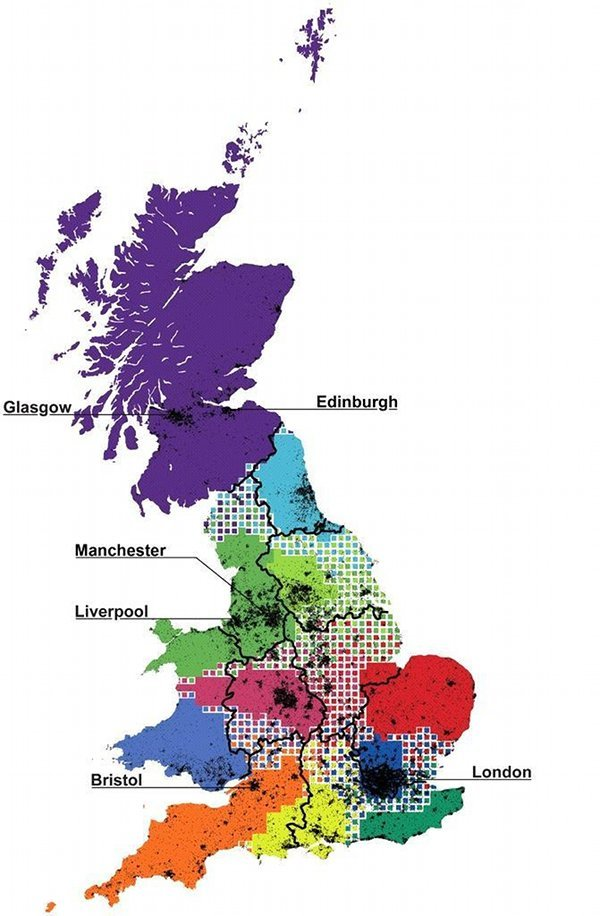 Figure 2 – British 'telephone areas'